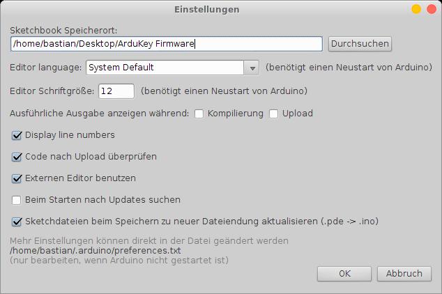 Arduino IDE Einstellungen - Sketchbook Speicherort