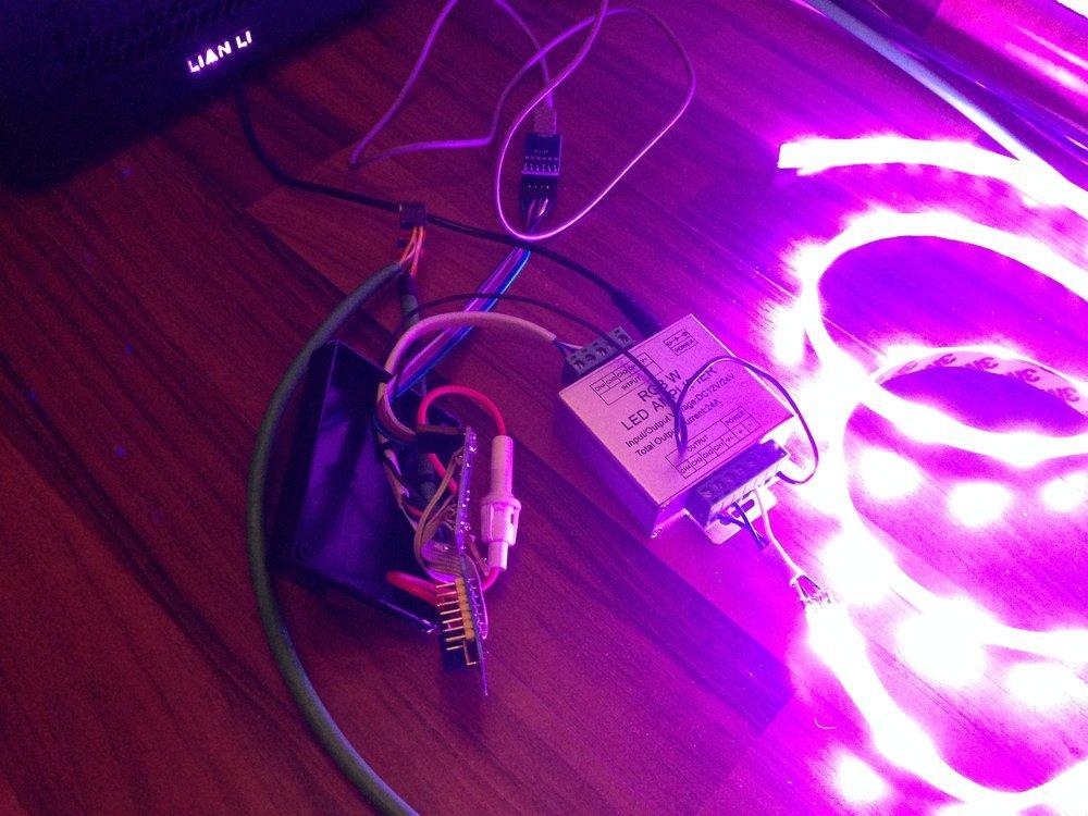 Simple test setup with RGB LED strip