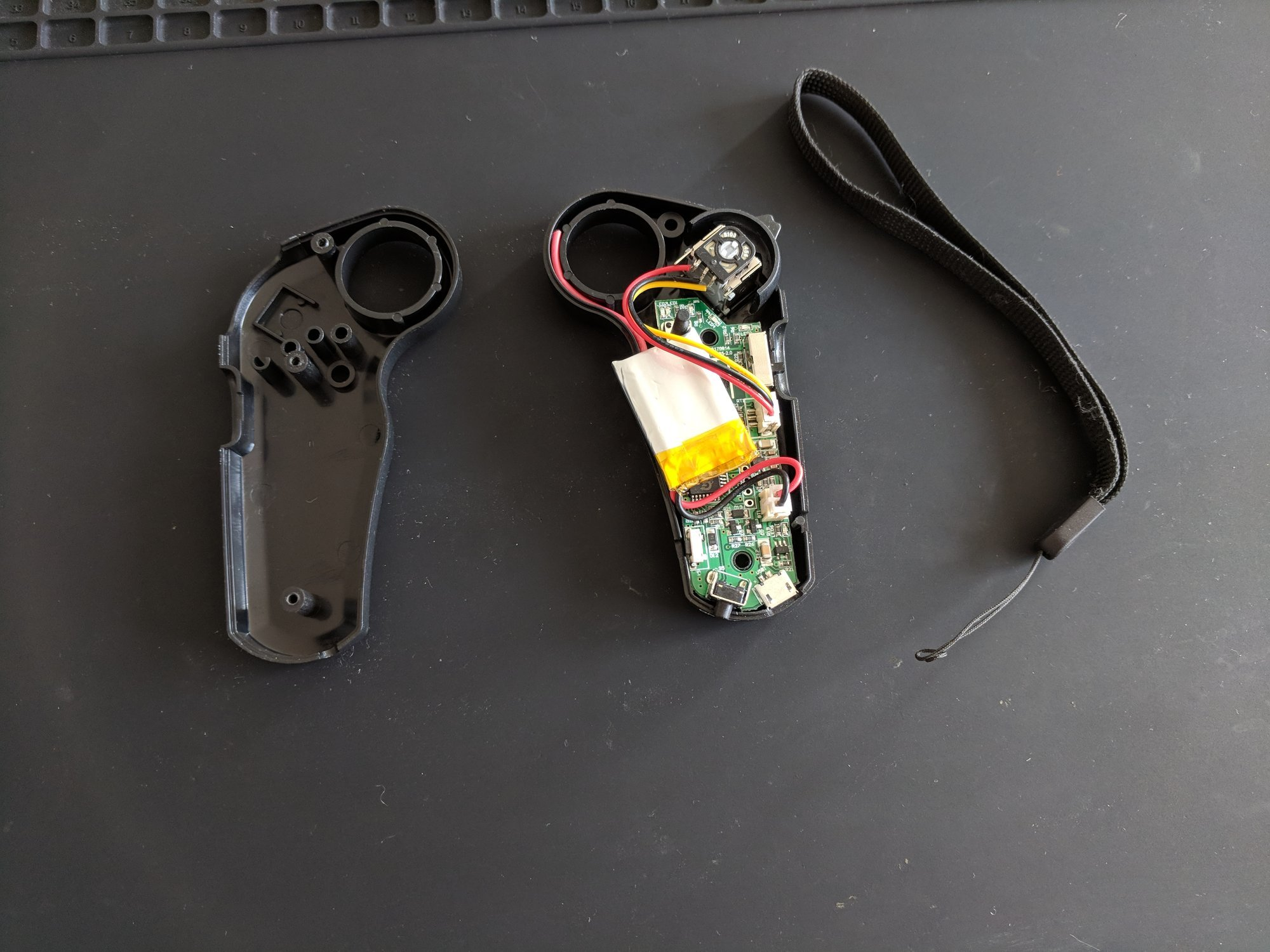 The disassembled remote control