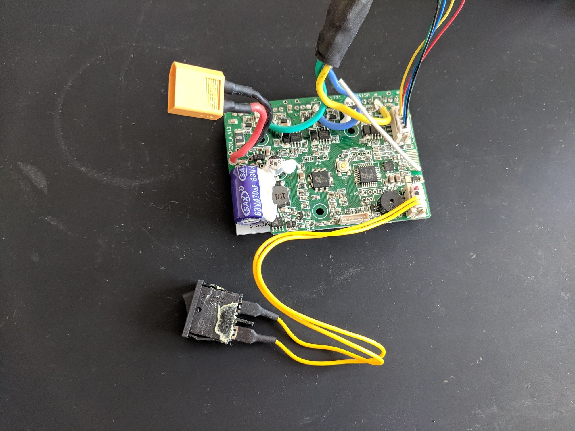 The main cicuit board of the electric skateboard with cables
