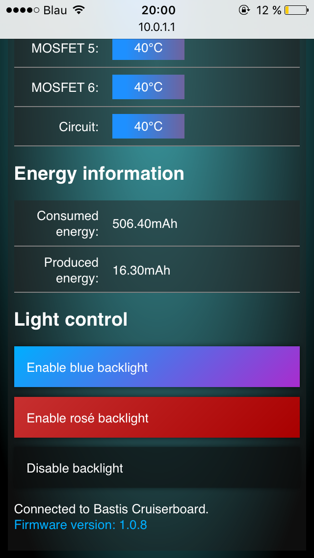 The web interface allows to switch backlight