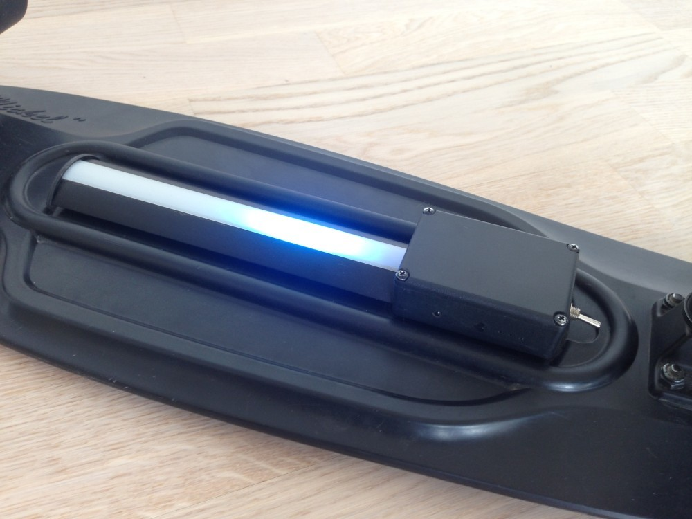 The Pennyboard blackout running the blue laser scanner animation
