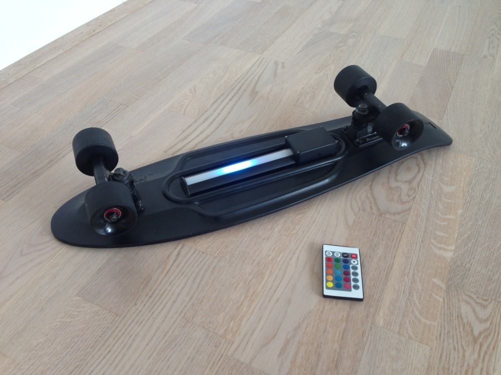 The Pennyboard Blackout with remote running the blue laser scanner animation