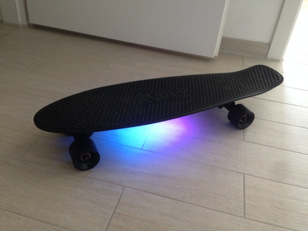 The final Pennyboard 27 Blackout with underglow